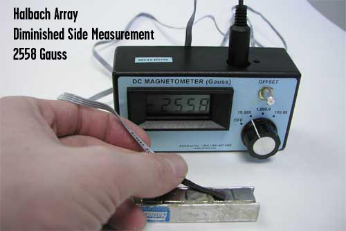 gaussmeter testing halbach array reading 2558 on weak side.