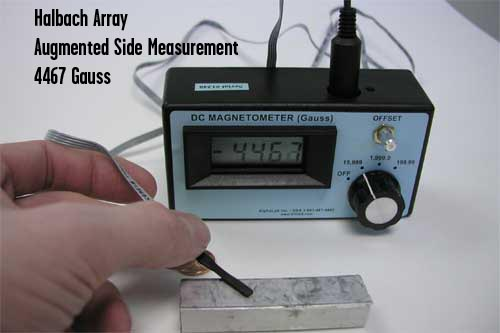 gaussmeter testing halbach array reading 4467 on strong side