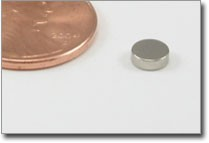 """3/16 x 1/16"""" nickel plated disc magnet"""